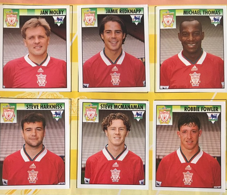 Liverpool footballers from a 1990s Premier League sticker album