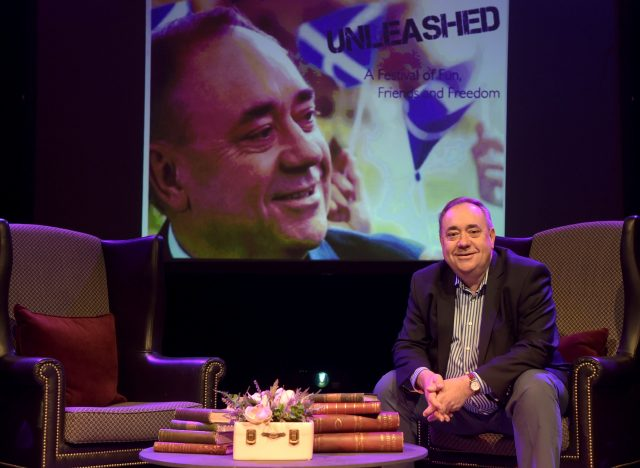 Mr Salmond during a photocall on stage at the Assembly Rooms in Edinburgh (Lesley Martin/PA)