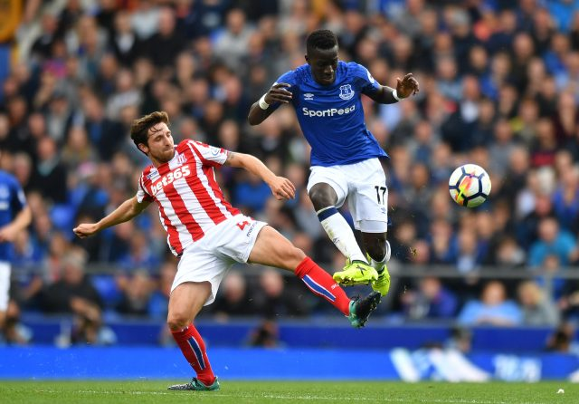 toke City's Joe Allen and Everton's Idrissa Gueye battle for the ball during the Premier League match at Goodison Park.