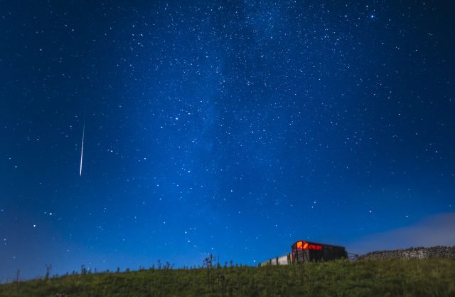 A meteor during the Perseid shower
