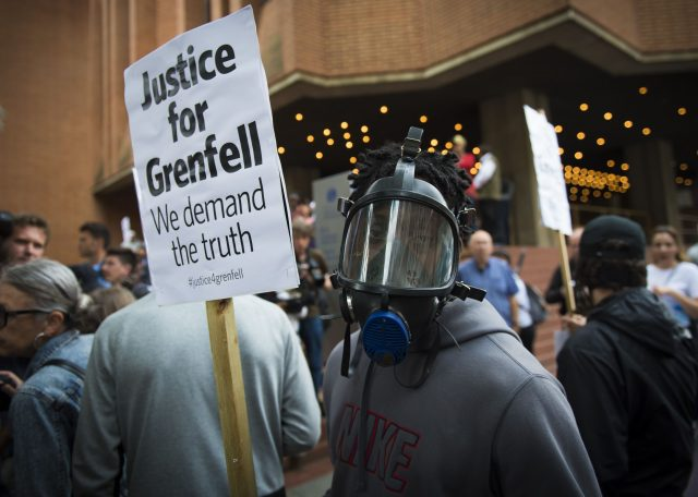 Protests were held ahead of a meeting of Kensington and Chelsea Council in July