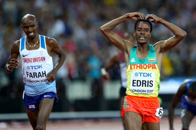 Edris did the mobot as he crossed the finish line ahead of Farah