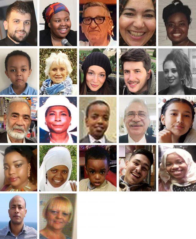 Twenty-two of the confirmed victims: (top row left to right) Mohammad Alhajali, Ya-Haddy Sisi Saye, also known as Khadija Saye, Anthony Disson, Khadija Khalloufi, Mary Mendy, (second row left to right) Isaac Paulos, Sheila, Gloria Trevisan, Marco Gottardi, Berkti Haftom, (third row left to right) Ali Jafari, Majorie Vital, Yahya Hashim, Hamid Kani, Jessica Urbano Ramirez, (fourth row left to right) Zainab Deen, Nura Jemal, Jeremiah Deen, Yasin El Wahab, Firdaws Hashim, (fifth row left to right) Hasim Kedir, Deborah Lamprell (Handouts/PA)