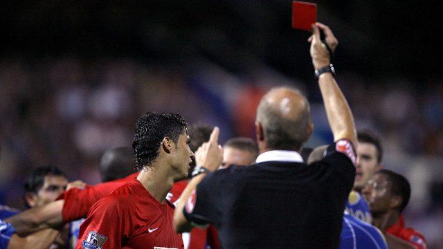 For the second season running, Steve Bennett sends Ronaldo off for headbutting Portsmouth's Richard Hughes