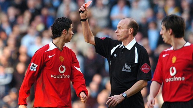 Ronaldo was shown a red card for his tackle on Andy Cole in the Manchester derby