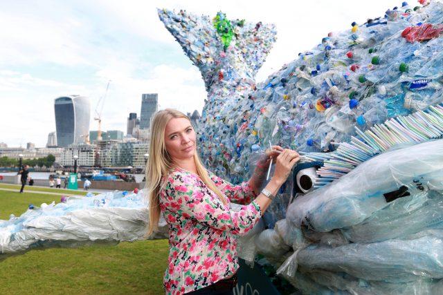 Jodie Kidd joined Sky Ocean Rescue to unveil a 10-metre long plastic whale (Matt Alexander/PA)