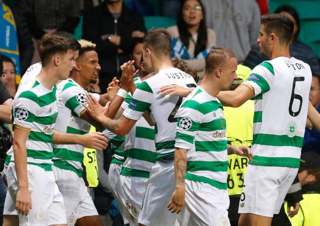 Scott Sinclair celebrates scoring Celtic's second goal against Astana