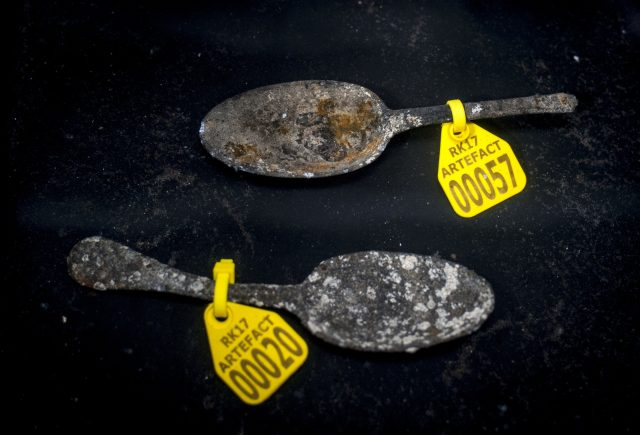Pewter spoons found during the excavation works