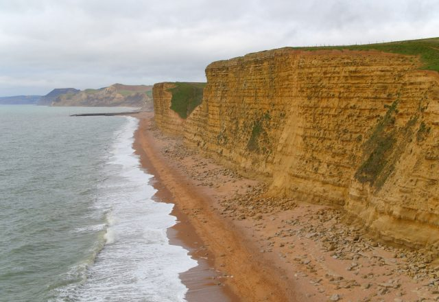 An aerial view of cliffs on the Jurassic Coast near West Bay, Dorset, where ITV's Broadchurch is filmed