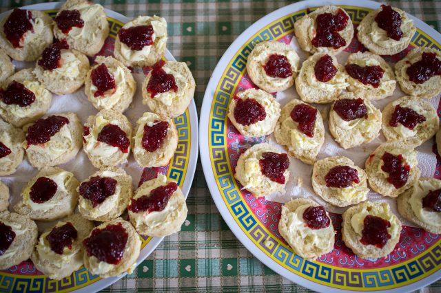 Cream then jam on scones in Devon