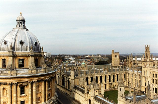 (L-R) The Radcliffe Camera, the Codrington library, Hertford College (Old Quadrangle) and All Souls' College, Oxford. The roof and tower of New College can be seen right, distance