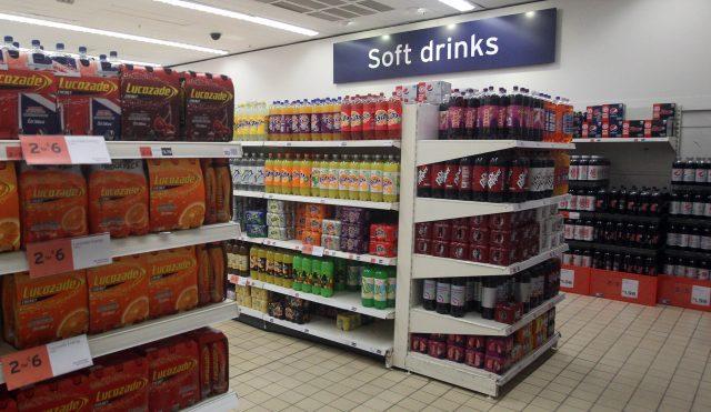 Soft drinks on supermarket shelving