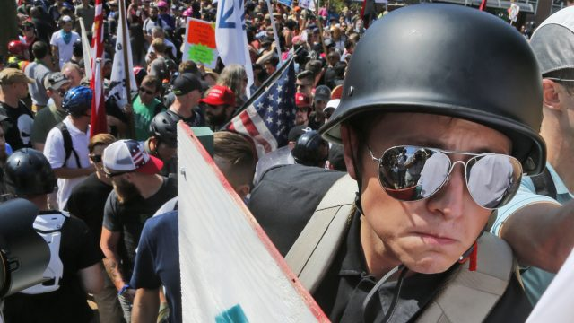 Shields, helmets and batons carried by far-right and neo-Nazi protesters in Charlottesville last weekend would not be allowed in Germany