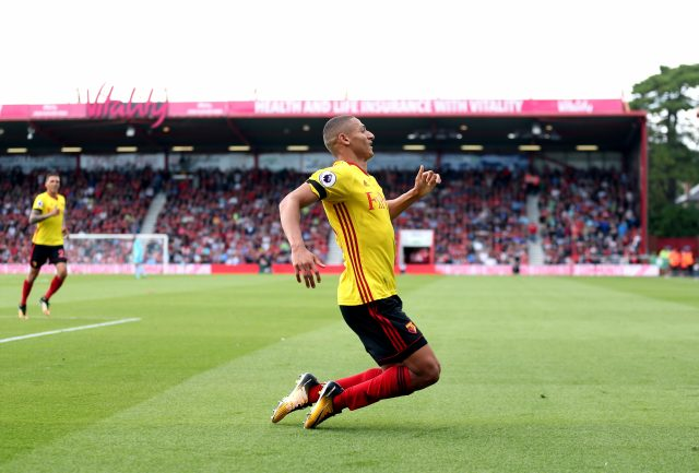 Richarlison celebrates scoring Watford's opening goal