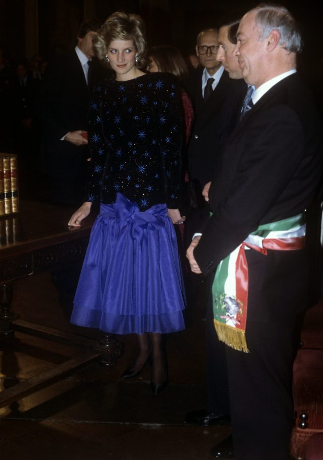 The Princess of Wales in a dress by Jacques Azagury in Florence, Italy, in 1985