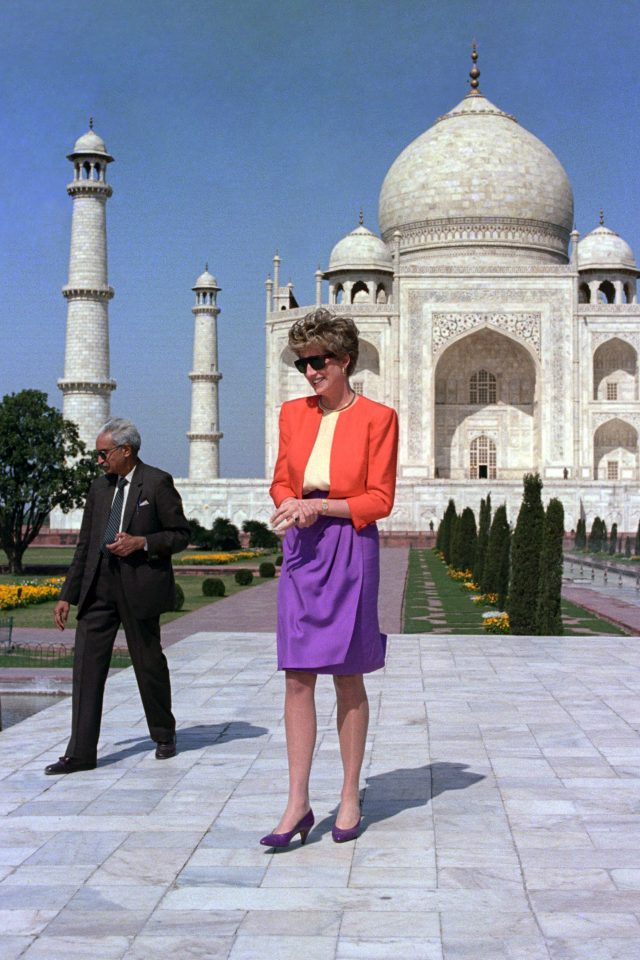 The Princess of Wales is shown around by a guide during her visit to the Taj Mahal in 1992