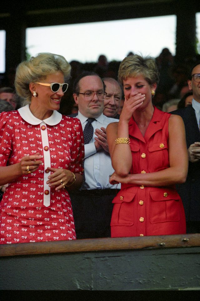 Diana and Princess Michael of Kent share a joke during the men's singles final at Wimbledon in 1994