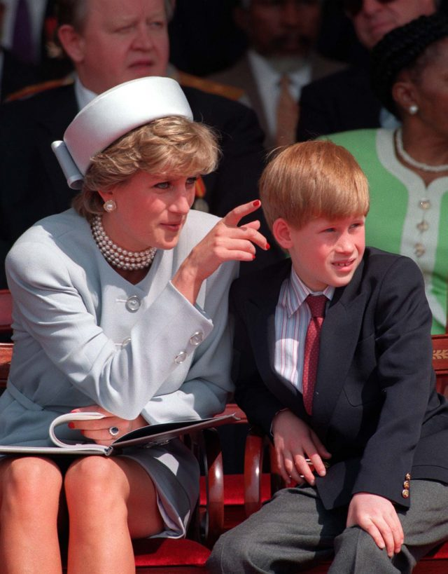 Diana with Harry during celebrations commemorating the 50th anniversary of VE day in 1995.