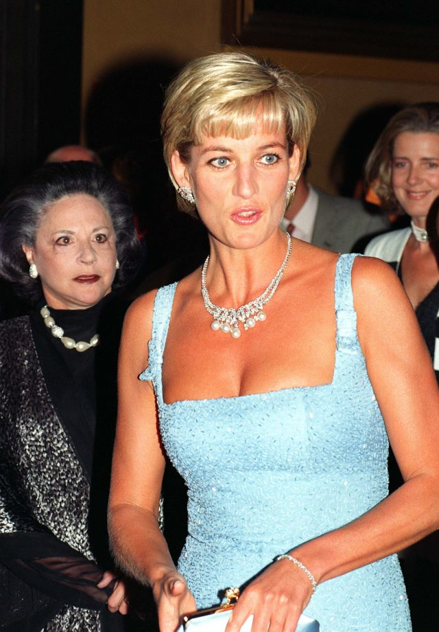 Diana arriving at the Royal Albert Hall for a gala performance of Swan Lake in 1997