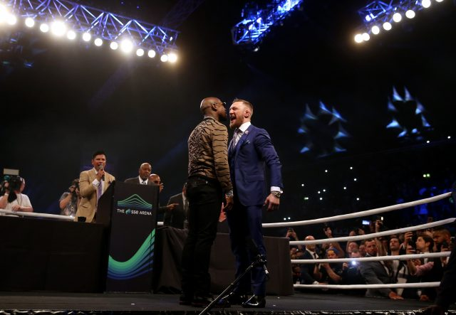 Conor McGregor and Floyd Mayweather go face to face