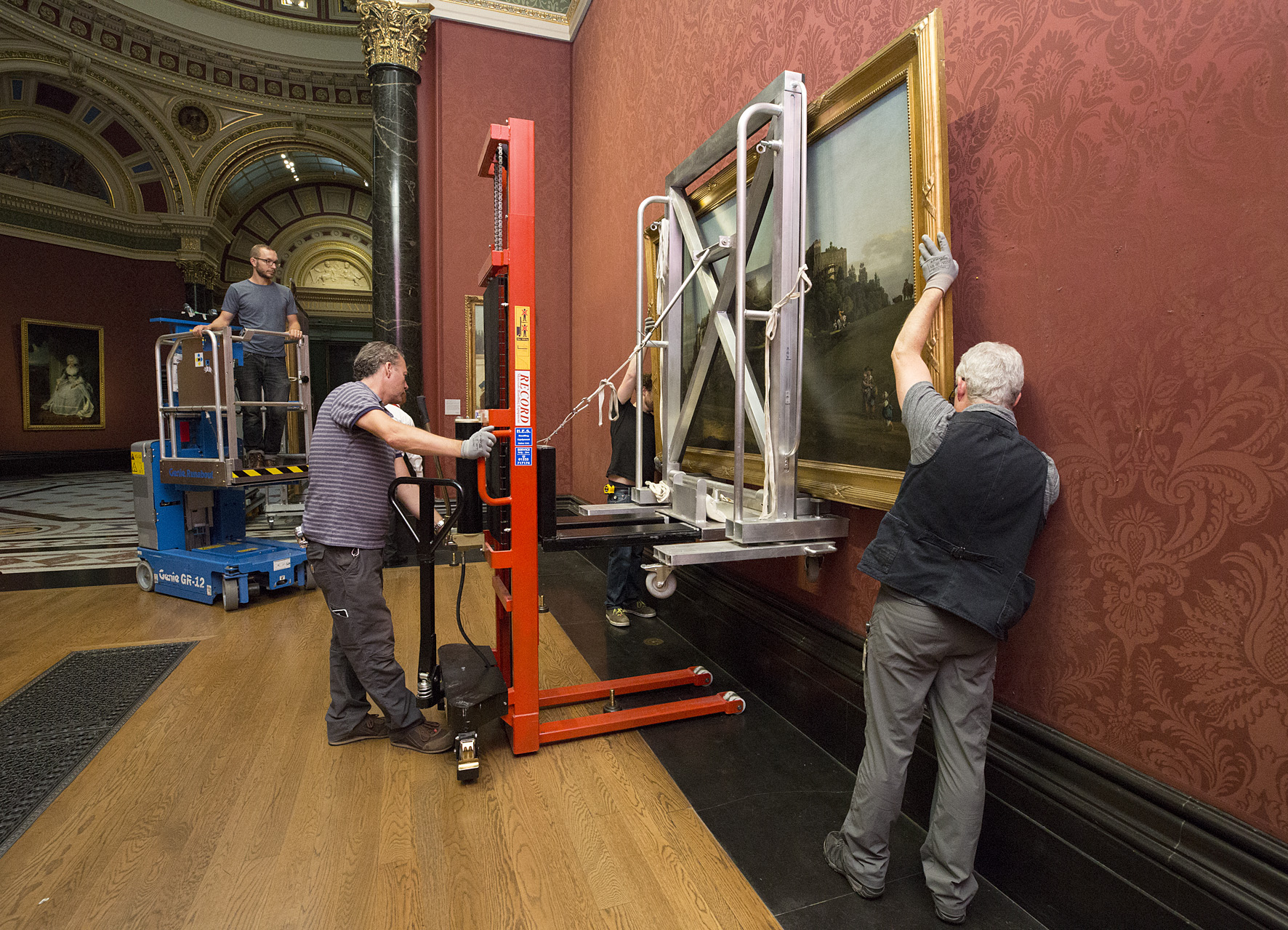 The painting being installed at The National Gallery (The National Gallery, London)