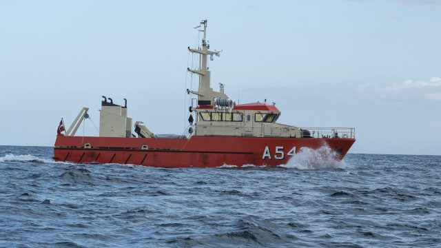 The Danish navy's ship Fyrholmen searches in Koge Bay south of Copenhagen