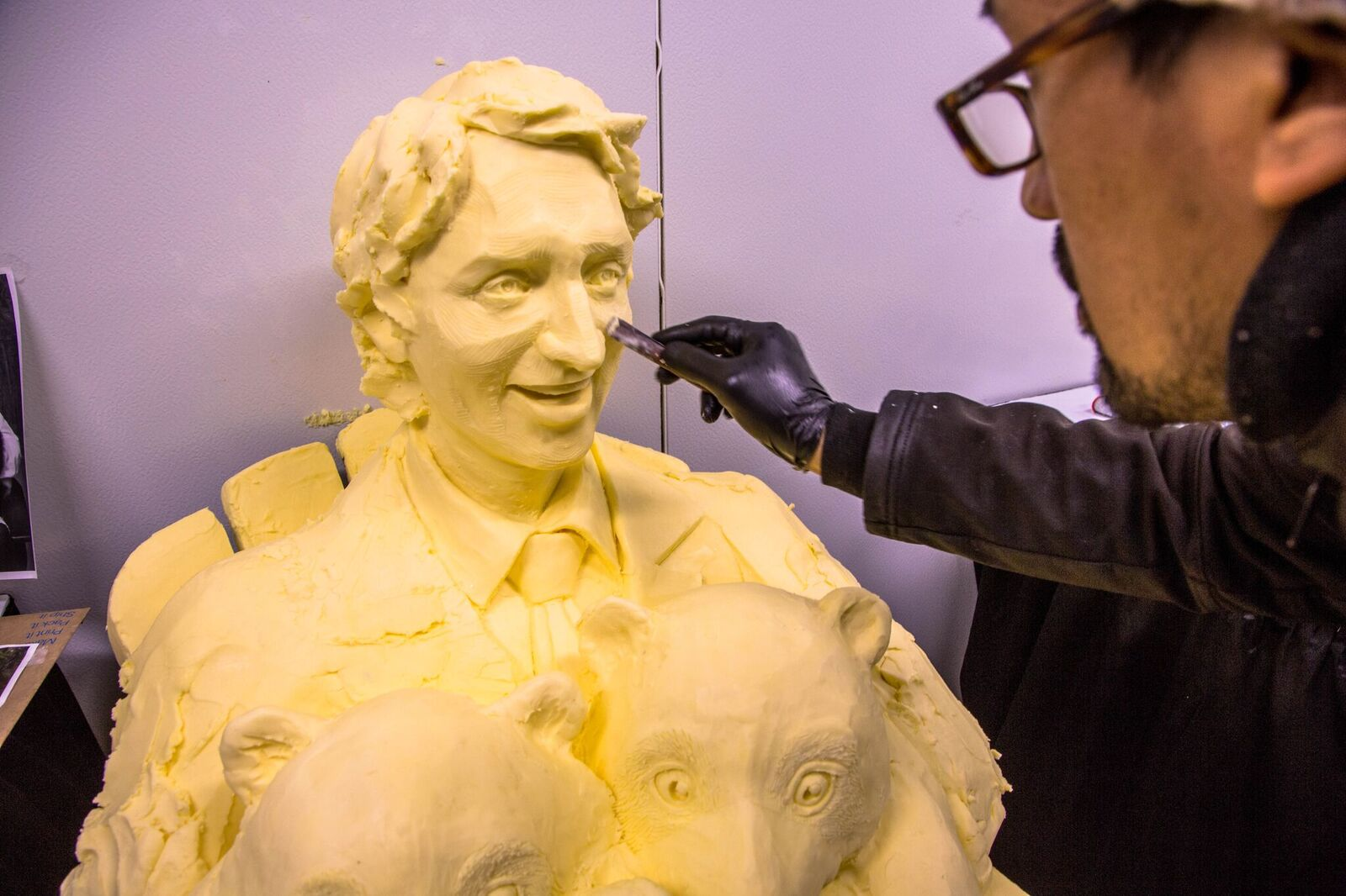 A butter sculpture of Justin Trudeau