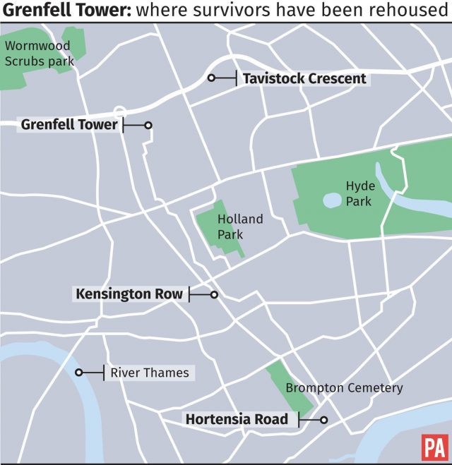 Graphic showing where survivors of the Grenfell Tower fire have been rehoused