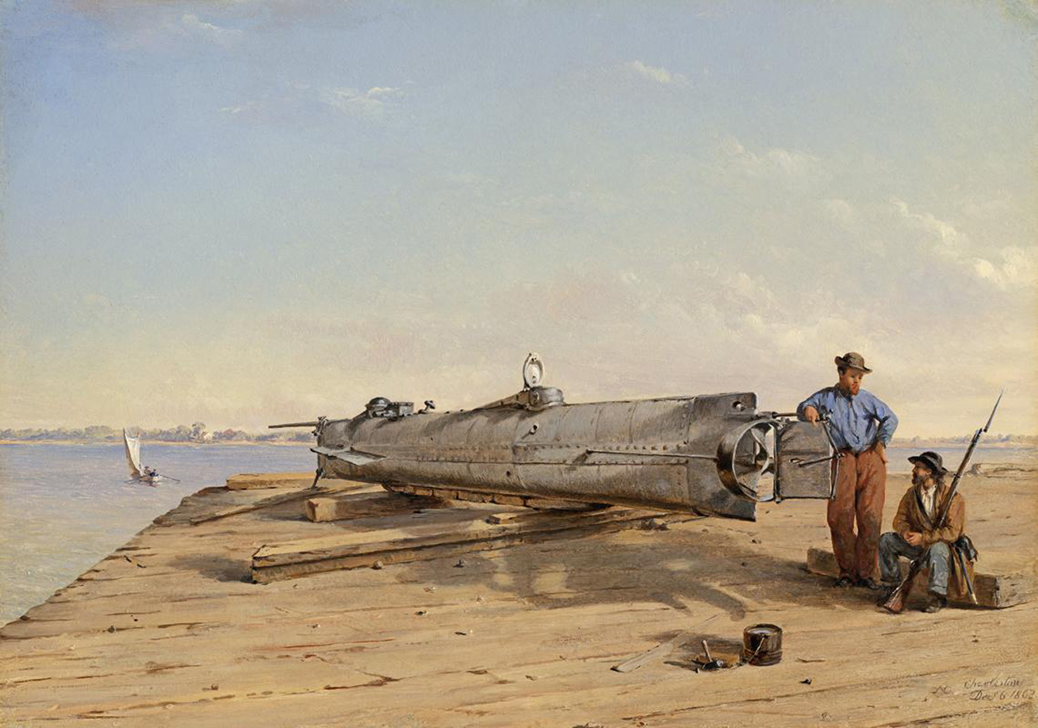 "Painting by Conrad Wise Chapman entitled ""Submarine Torpedo Boat"""