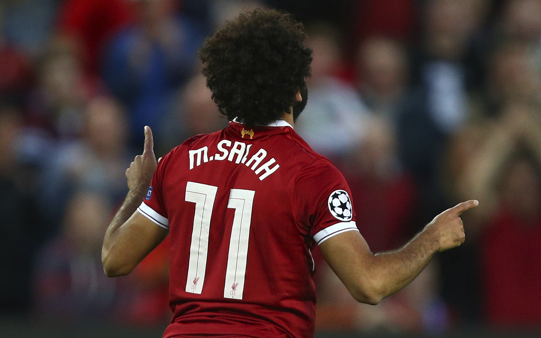 Salah celebrates the second goal