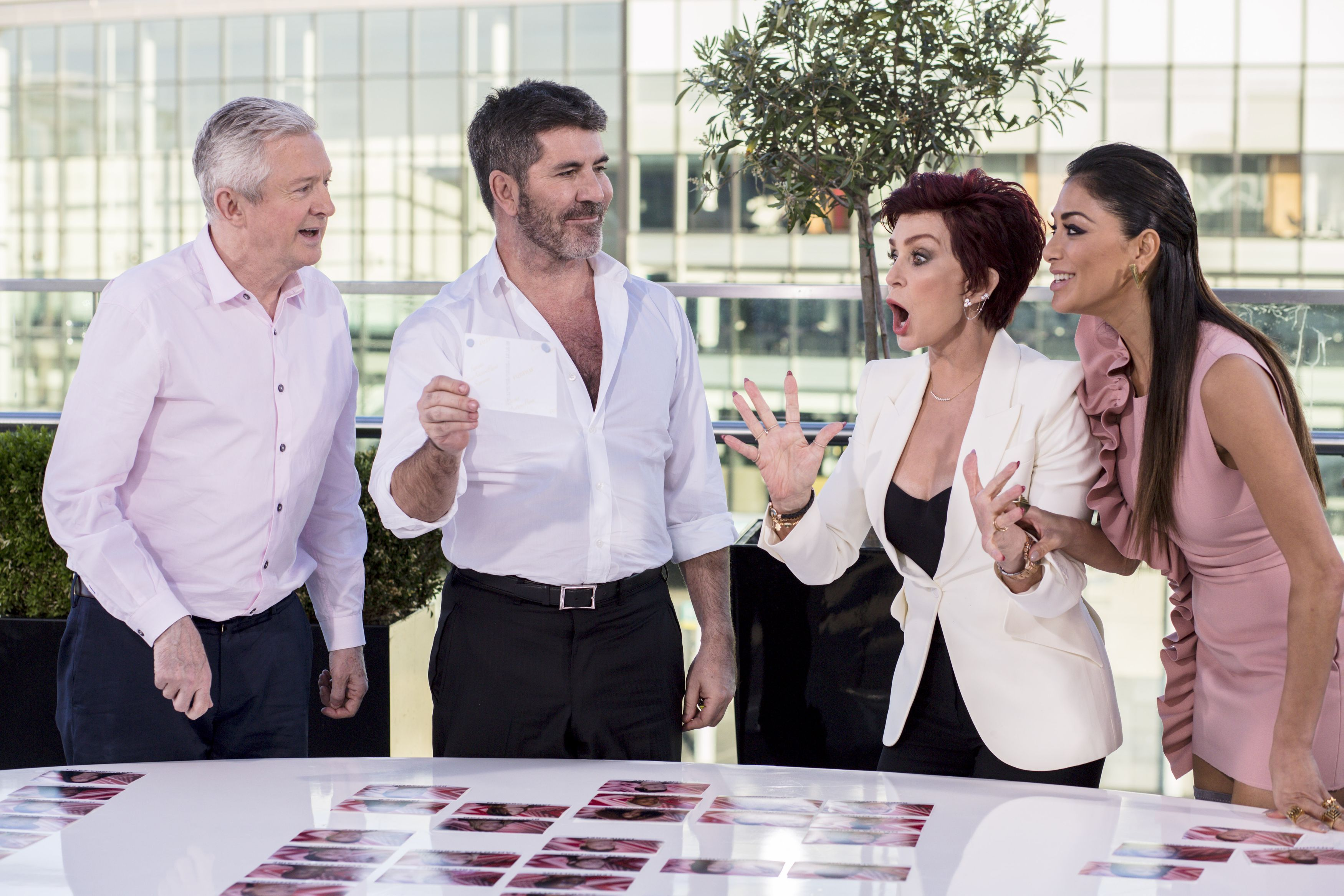 Sharon Osbourne with Louis Walsh, Simon Cowell and Nicole Scherzinger on The X Factor