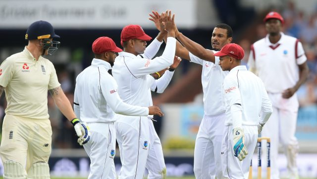 Shannon Gabriel celebrates taking the wicket of Ben Stokes