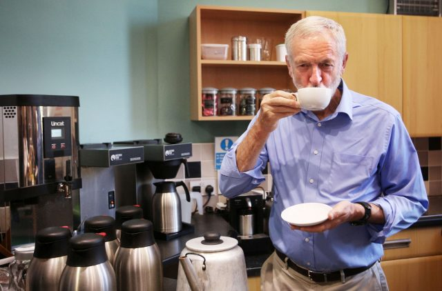 Jeremy Corbyn has a cup of tea as he meets pensioners in Kirkcaldy