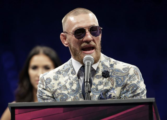 Conor McGregor speaks during a news conference