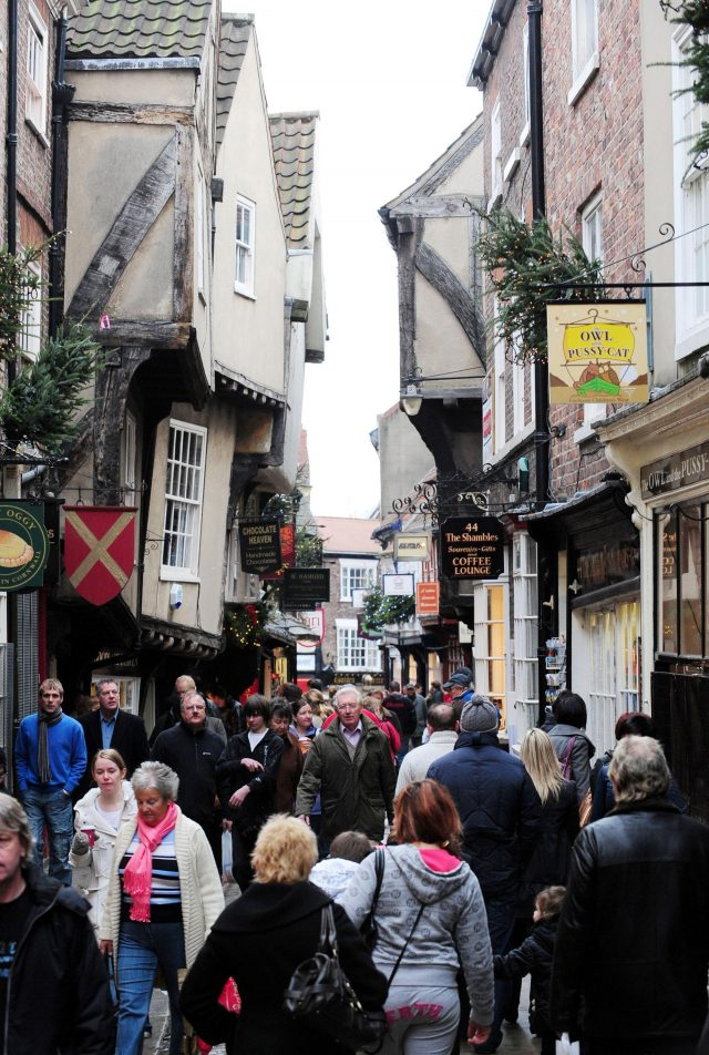 Shoppers in The Shambles, York city centre