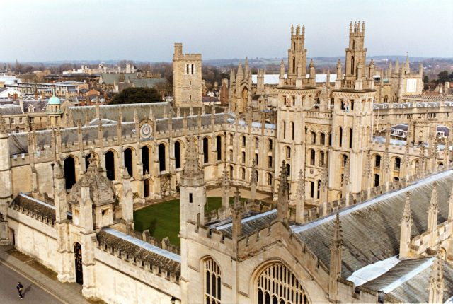 A view of All Souls' College from the Church of St Mary the Virgin, Oxford University. In the background to the right is New College. To the left is the Old Quadrangle of Hertford College