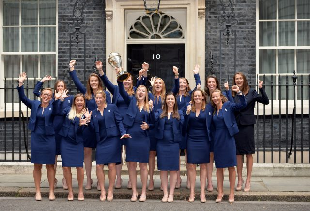 Members of the England women's cricket team at Downing Street