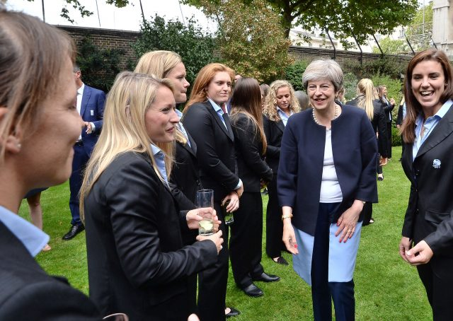 The PM greets members of the England women's rugby team