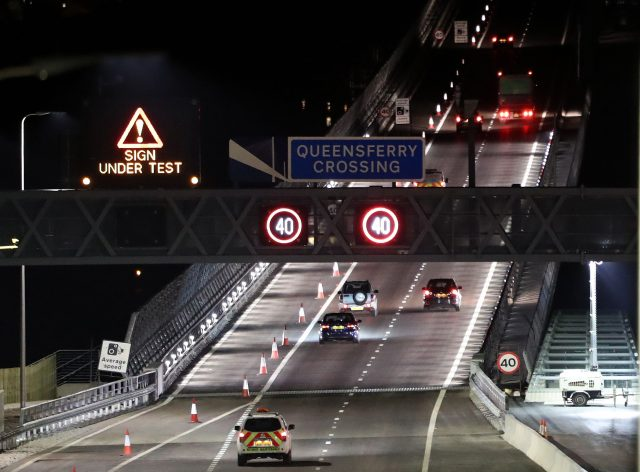 Traffic as it makes its way along the northbound carriageway of the Queensferry Crossing