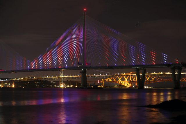 A view of the new Queensferry Crossing, seen from South Queensferry