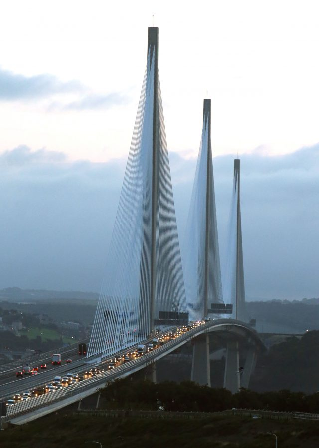 Traffic flows on both carriageways of the Queensferry Crossing