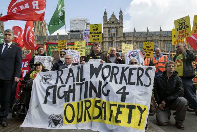 Members of the RMT union take strike action