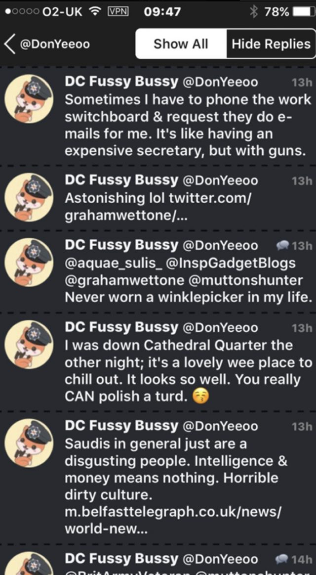 Undated screen grab of the Twitter feed of DC Fussy Bussy (@DonYeeoo) of a Twitter  conversation with a comment about people from Saudi Arabia