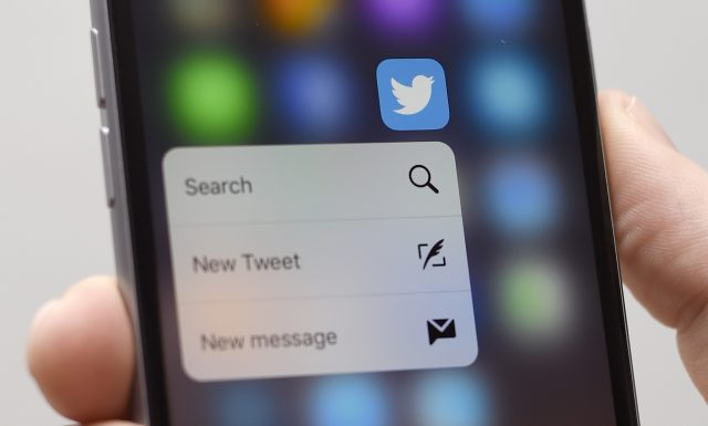 A Twitter app on an Apple iPhone 6s