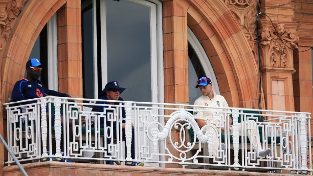 Ottis Gibson sat with England coach Trevor Bayliss and skipper Joe Root during the test against South Africa at Lord's earlier this summer