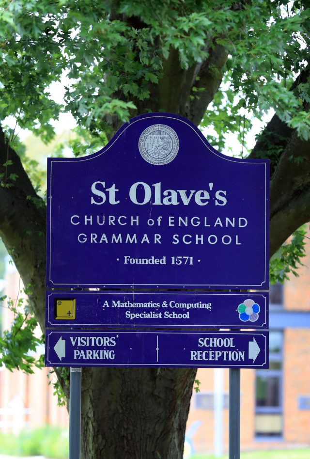 A St Olave's school sign