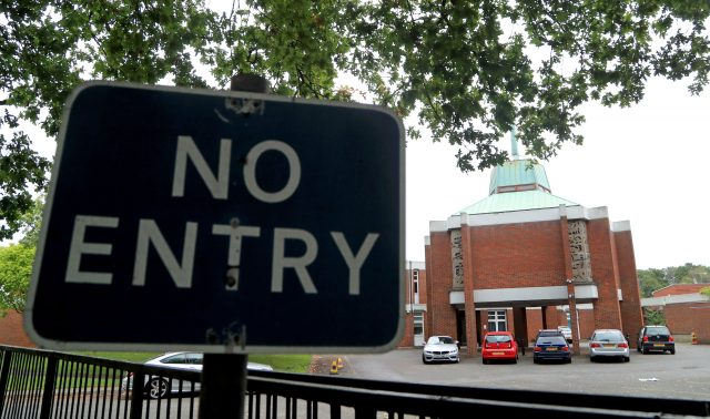 A no entry sign at St Olave's Grammar School
