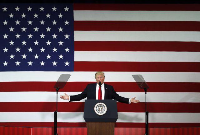 US President Donald Trump speaks in Springfield, Mo