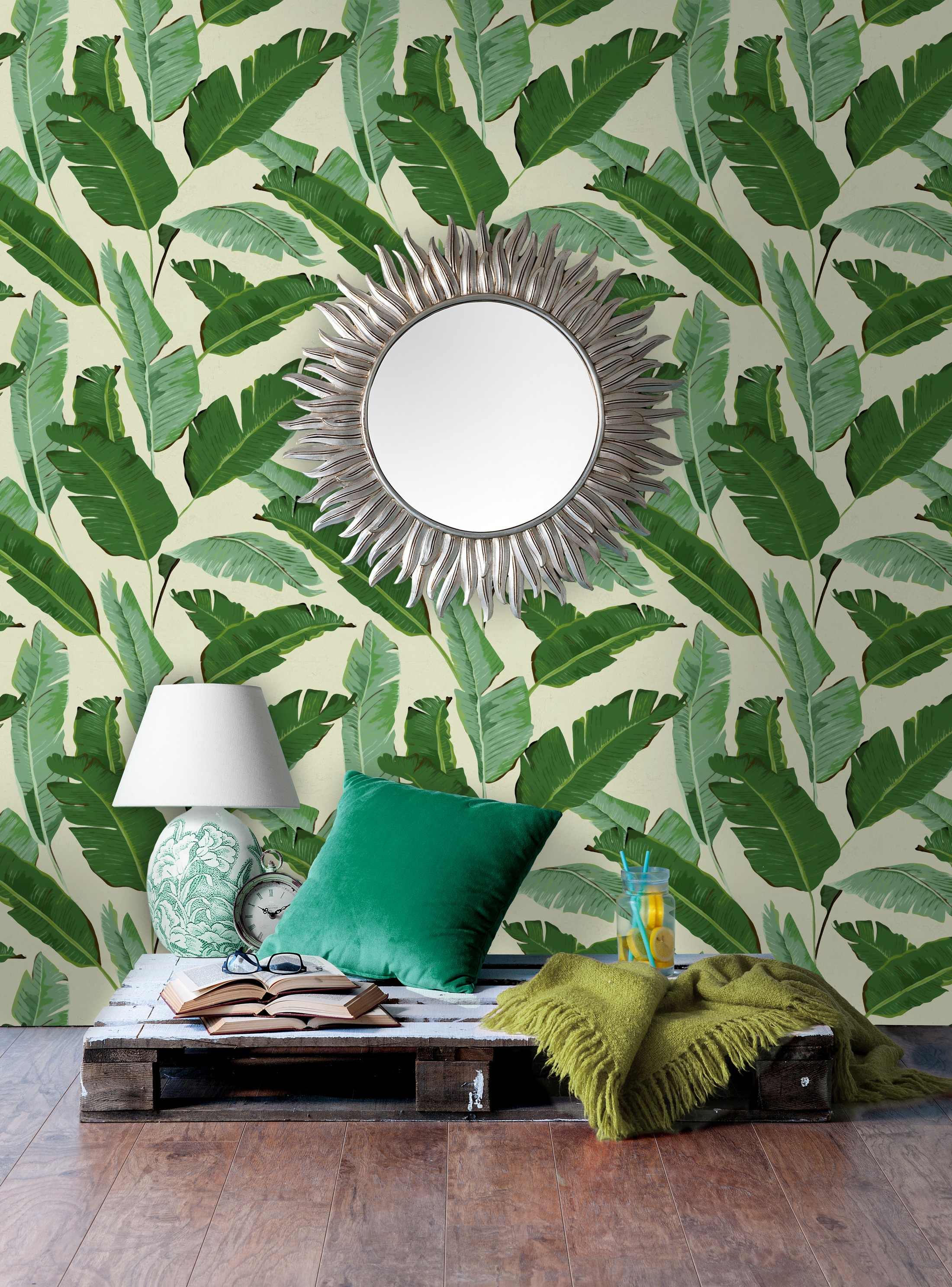 Banana Leaves Wallpaper by Mind The Gap, £150 a roll, Lime Lace (Lime Lace/PA)