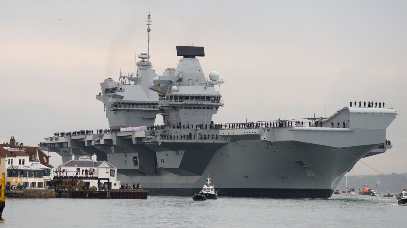 HMS Queen Elizabeth, the UK's newest aircraft carrier, arrives in Portsmouth for the first time (Steve Parsons/PA)